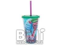 12 OZ FOOTBALL CRAZY STRAW TUMBLER